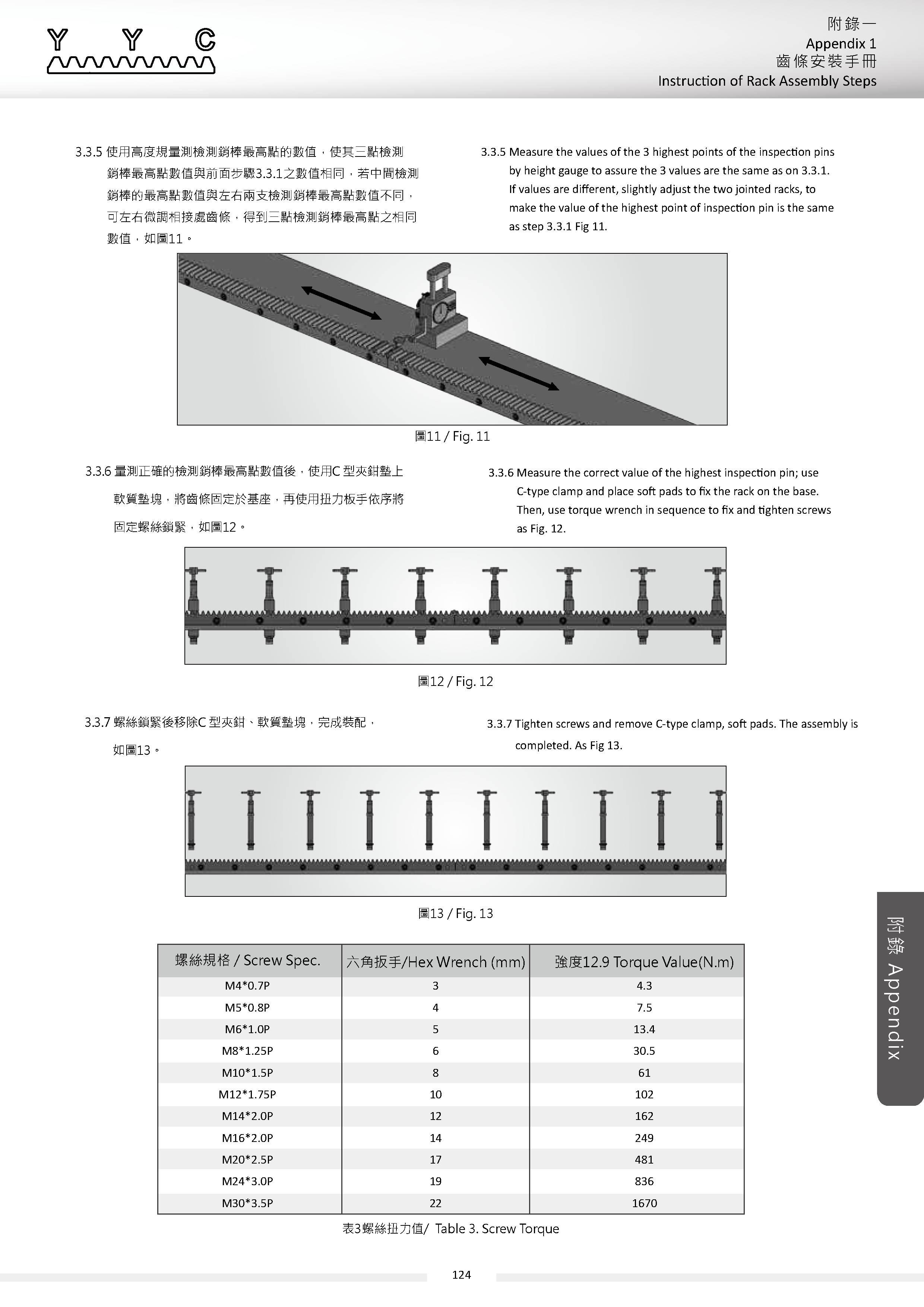 Instruction of Rack Assembly Steps 齒條安裝手冊6