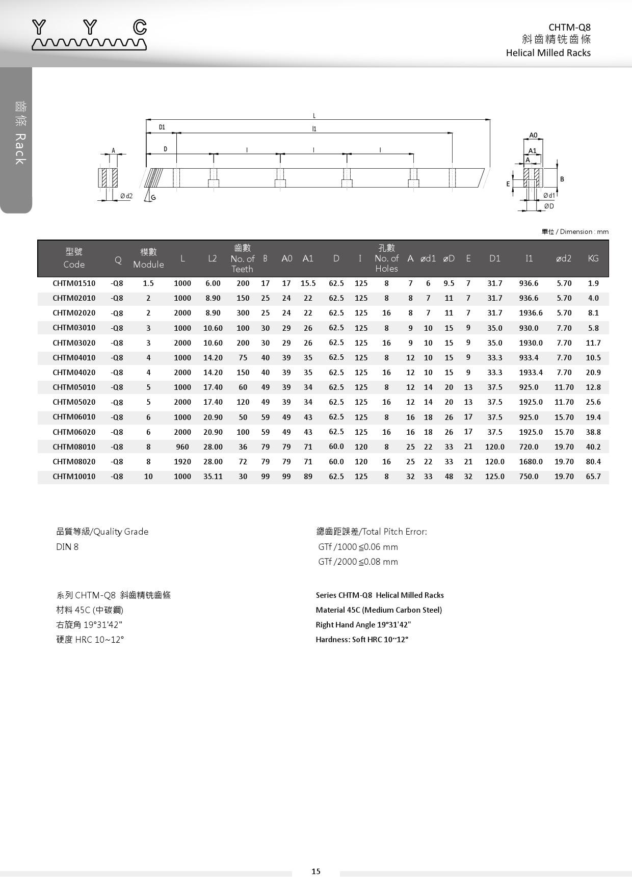 CHTM-Q8 斜齒精銑齒條