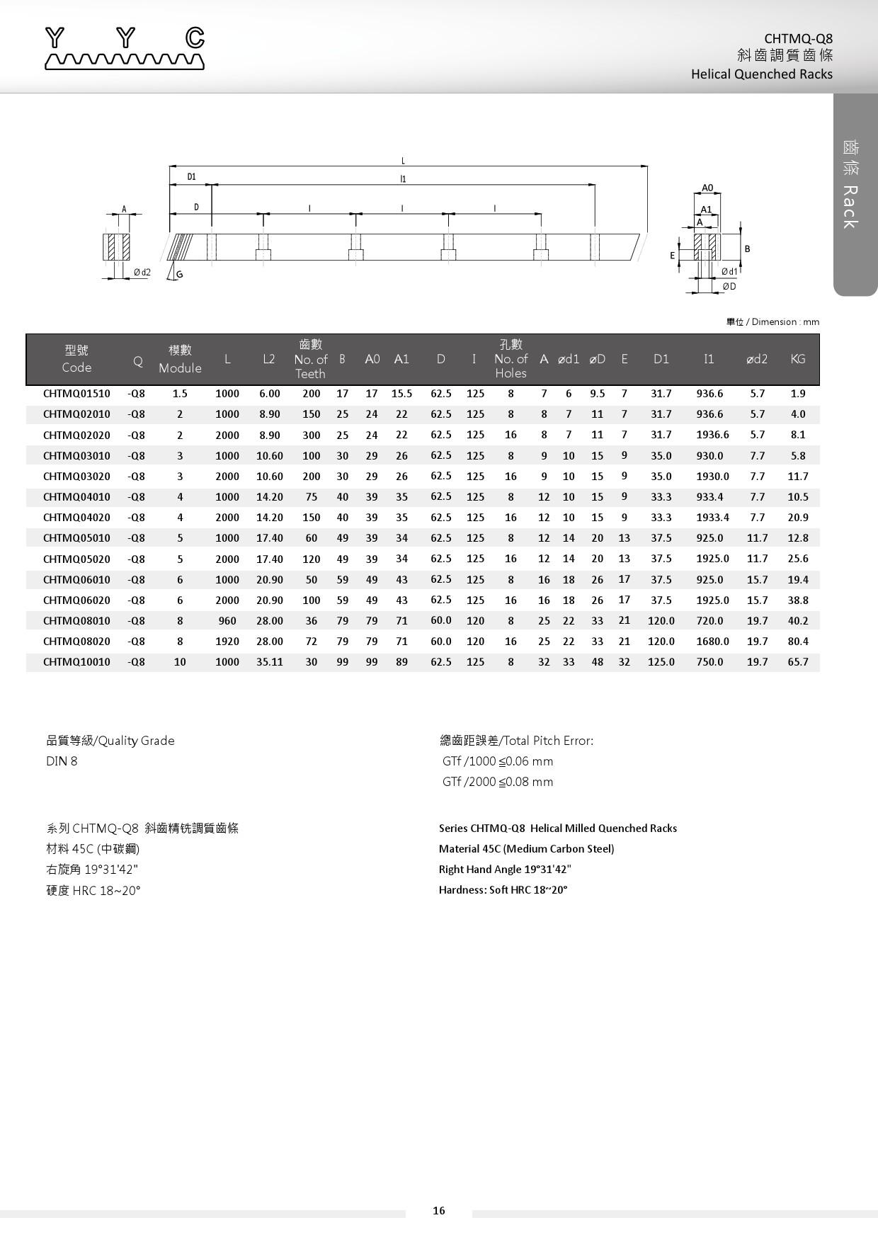 CHTMQ-Q8 斜齒調質齒條