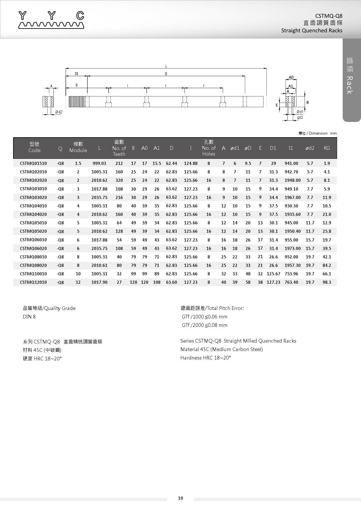 CSTMQ-Q8 直齒調質齒條